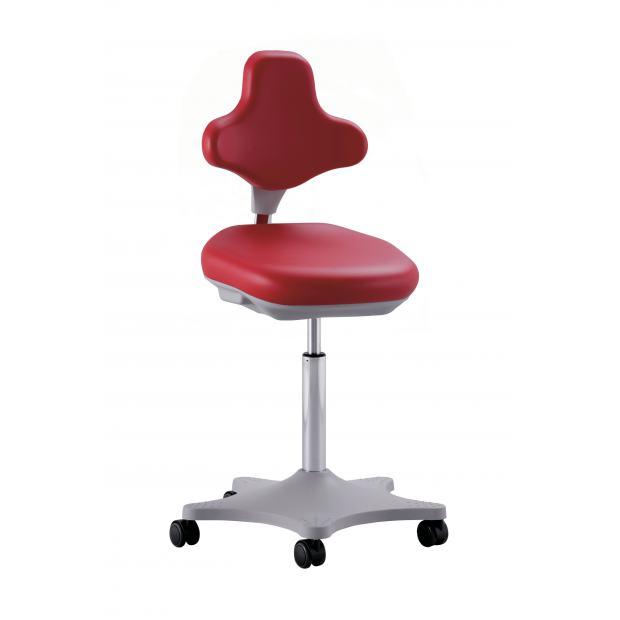 9103 - siège LABSTER 2 Bimos vérin moyen sur roulettes - skaï rouge