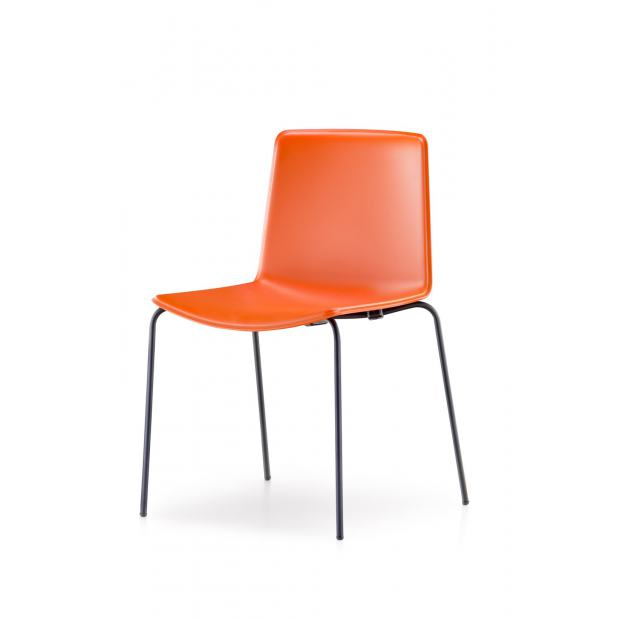 Tweet 890 Pedrali Chaise 4 pieds orange / structure noire