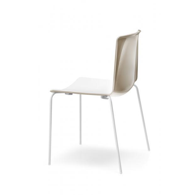 Tweet 890 Pedrali Chaise 4 pieds beige-blanc / pieds blanche