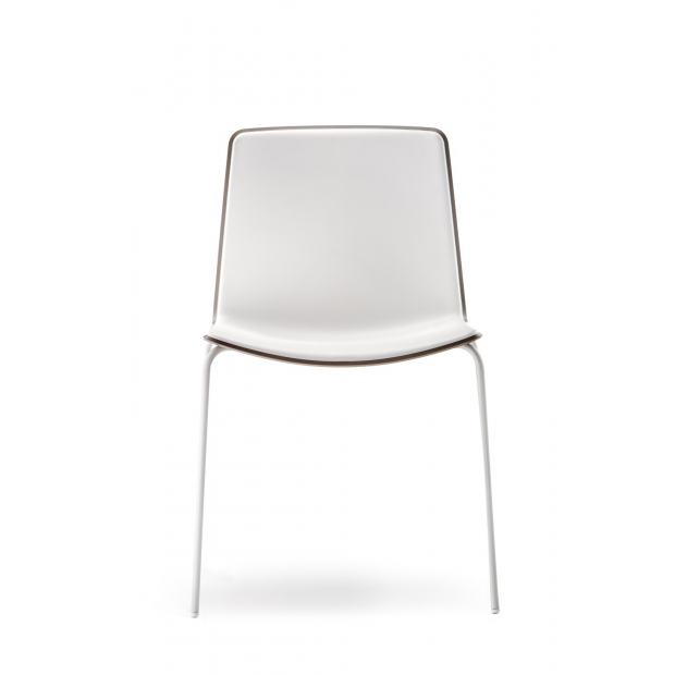 Tweet 890 Pedrali Chaise 4 pieds blanc / coque beige - blanc