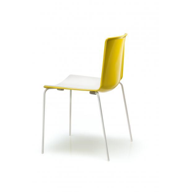 Tweet 890 Pedrali Chaise 4 pieds blanc / coque jaune - blanc