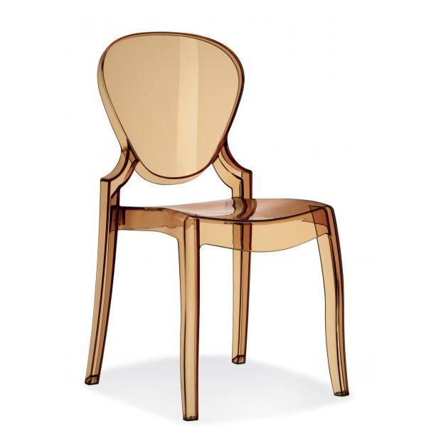 QUEEN 650 Pedrali Chaise 4 pieds polycarbonate ambre