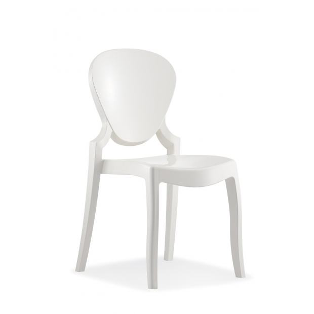 QUEEN 650 Pedrali Chaise 4 pieds polycarbonate blanc