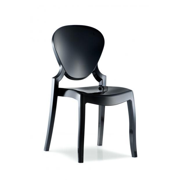 QUEEN 650 Pedrali Chaise 4 pieds polycarbonate noir