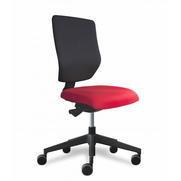 Why siège de bureau dossier placet noir / assise tissu rouge