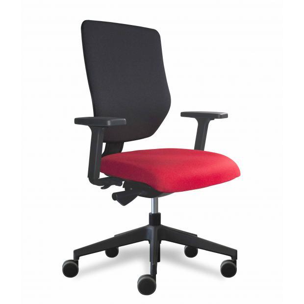 Why fauteuil de bureau dossier placet noir / assise tissu rouge avec accoudoirs