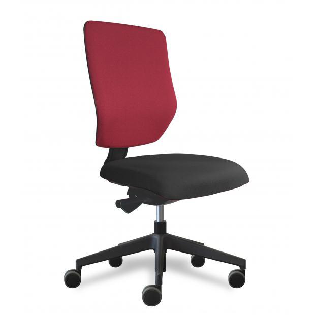 Why siège de bureau dossier placet tissu rouge / assise tissu noir