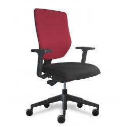 Why fauteuil de bureau dossier placet tissu rouge / assise tissu noir avec accoudoirs