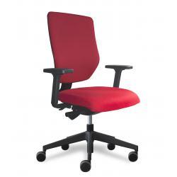 Why fauteuil de bureau dossier placet tissu rouge / assise tissu rouge avec accoudoirs