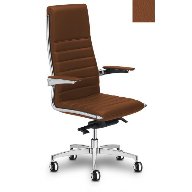 "VEGA HIT Fauteuil de direction alu poli / cuir S27 ""Horizontal"""