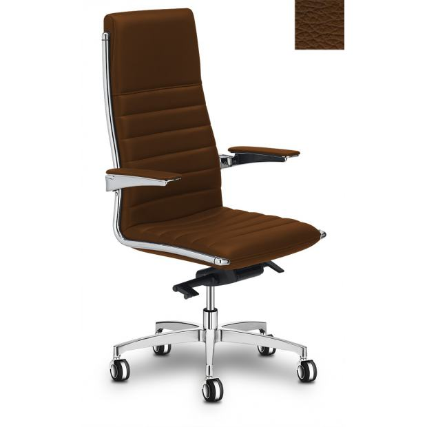 "VEGA HIT Fauteuil de direction alu poli / cuir S33 ""Horizontal"""