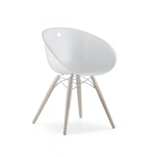Gliss 904 Pedrali Chaise coque blanche - pieds bois
