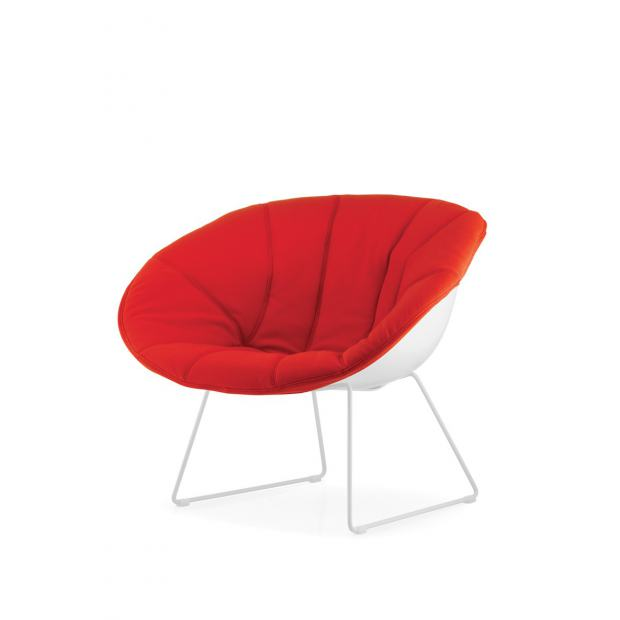 Gliss 340 Pedrali Chaise coque blanche avec rembourrage dehoussable rouge- pieds acier blanc
