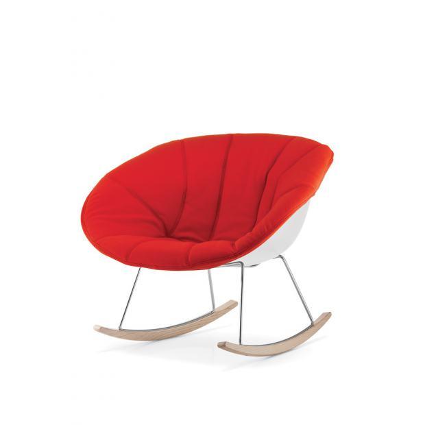 Gliss 350 Pedrali Chaise coque blanche avec rembourrage dehoussable rouge- pieds frêne