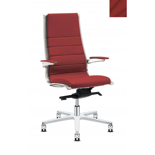 Fauteuil de direction - SIT IT CLASSIC - Structure chromée - Accoudoirs cuir - Revêtement cuir