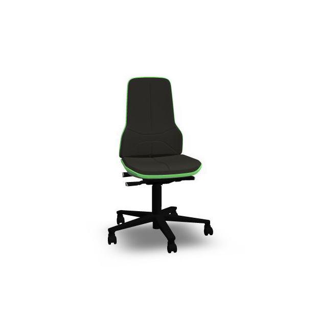 Neon 2 Bimos Contact Permanent sur roulettes - Cuir SM Noir - Bordure Verte