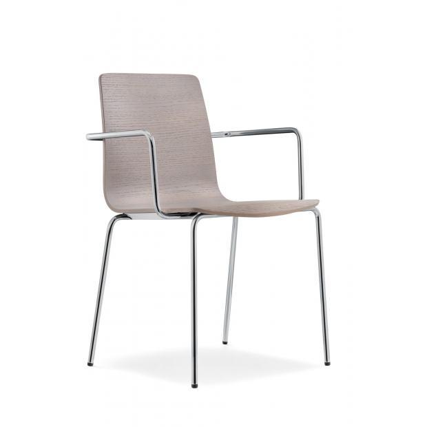 Inga 5614 Pedrali chaise 4 pieds avec accoudoirs - chêne teinté gris clair - structure chromée