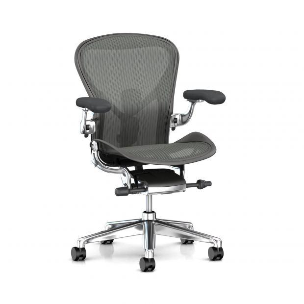 Fauteuil Aeron - Herman Miller Carbon / Alu Poli / Dual Posture Fit