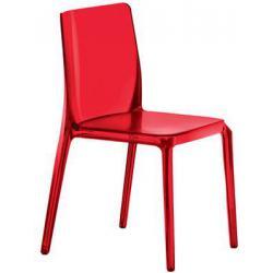 BLITZ 640 Pedrali Chaise 4 pieds Rouge Transparent
