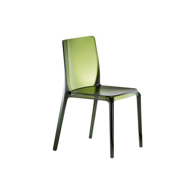 BLITZ 640 Pedrali Chaise 4 pieds Vert Transparent