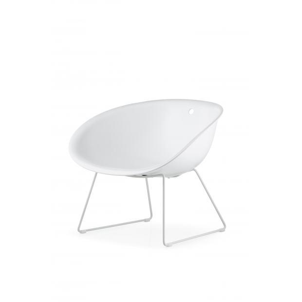 Gliss 340 Pedrali Chaise coque blanche - pieds acier blanc