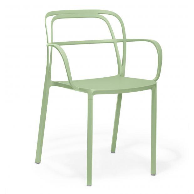 Intrigo 3715 Pedrali chaise 4 pieds - Vert cendré