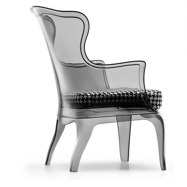 Pasha 660 Pedrali fauteuil avec coussin - fumé transparent