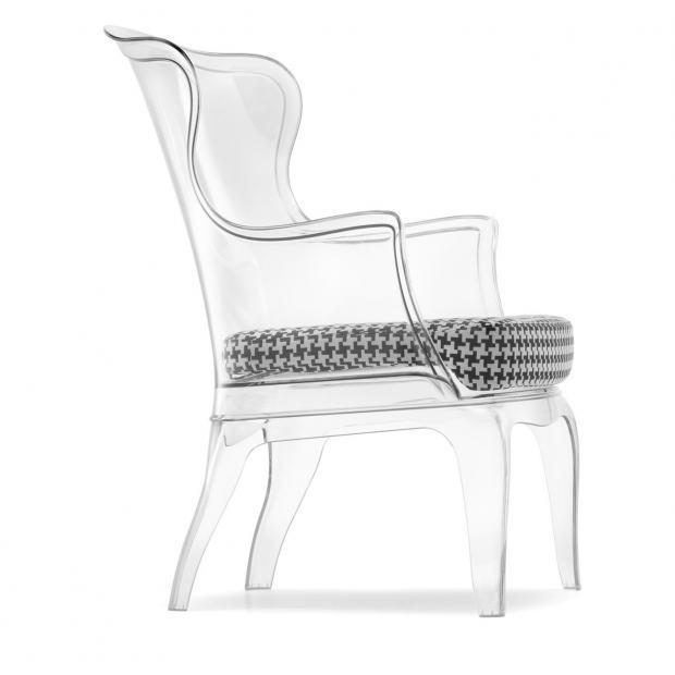 Pasha 660 Pedrali fauteuil avec coussin - Transparent