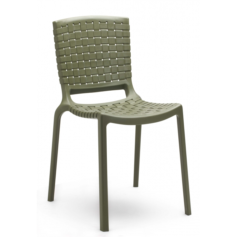Tatami 305 pedrali chaise 4 pieds gris vert for Chaise pedrali
