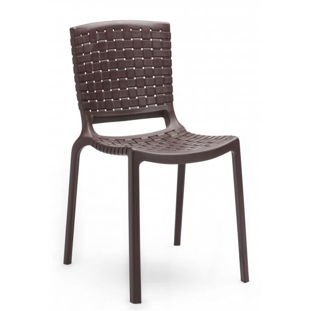 TATAMI 305 Pedrali chaise 4 pieds gris marron