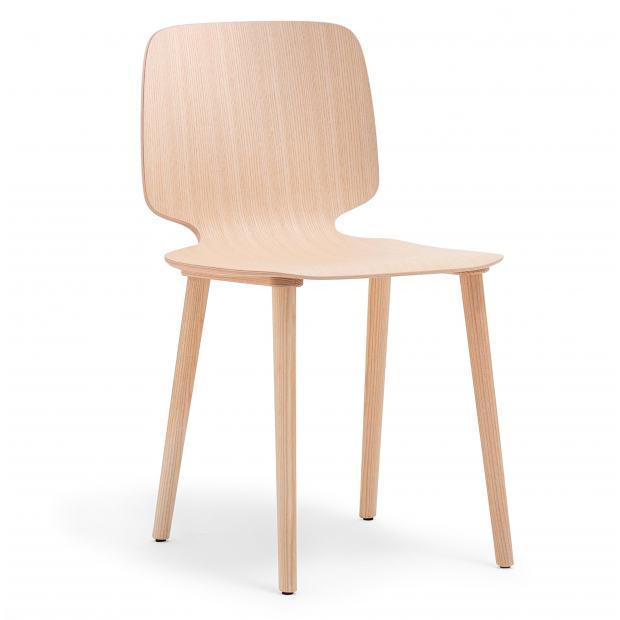 Babila 2700 Pedrali Chaise 4 pieds frêne / coque frêne
