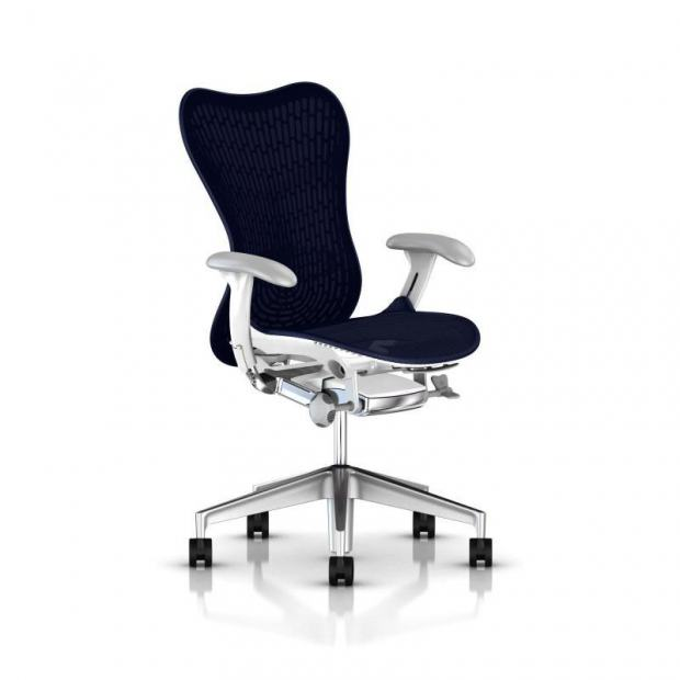 Fauteuil Mirra 2 Butterfly - Herman Miller - Piètement Aluminium semi poli - Structure White