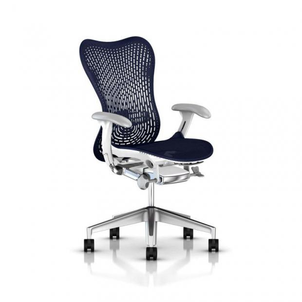 Fauteuil Mirra 2 Triflex - Herman Miller - Piètement Aluminium semi poli - Structure White