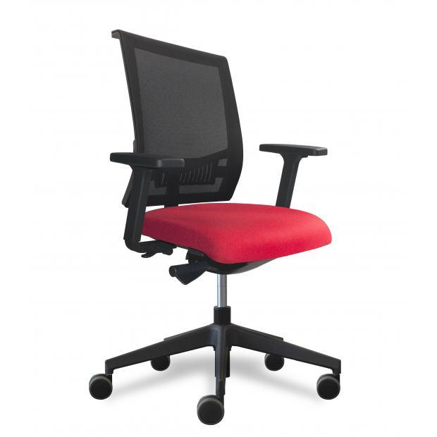 Why fauteuil de bureau dossier filet noir / assise tissu rouge avec accoudoirs