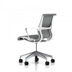 Chaise de réunion Setu roulettes avec accoudoirs - Piétement Aluminium semi poli
