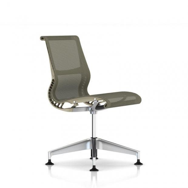 Chaise de réunion Setu patins sans accoudoirs - Piétement Aluminium semi poli