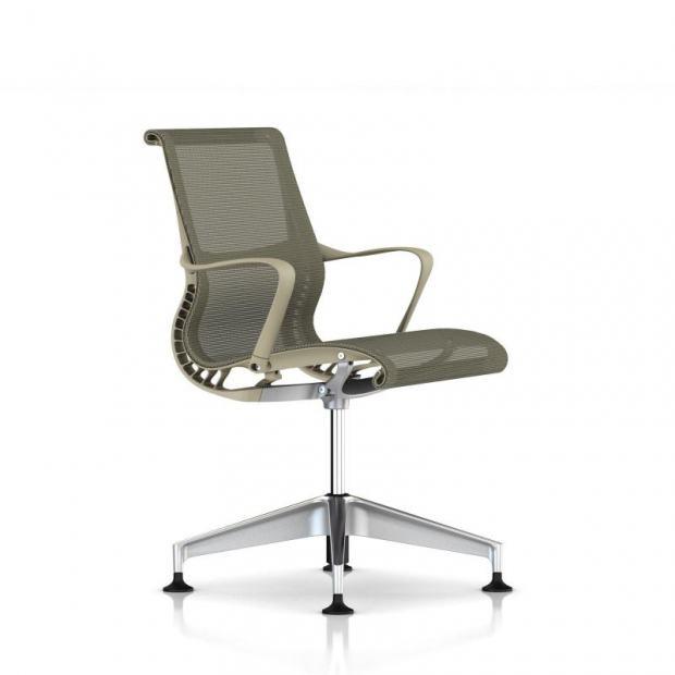 Chaise de réunion Setu patins avec accoudoirs - Piétement Aluminium semi poli