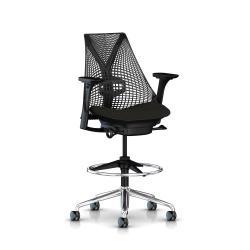 Sayl stool - Structure noire et Piétement alu poli