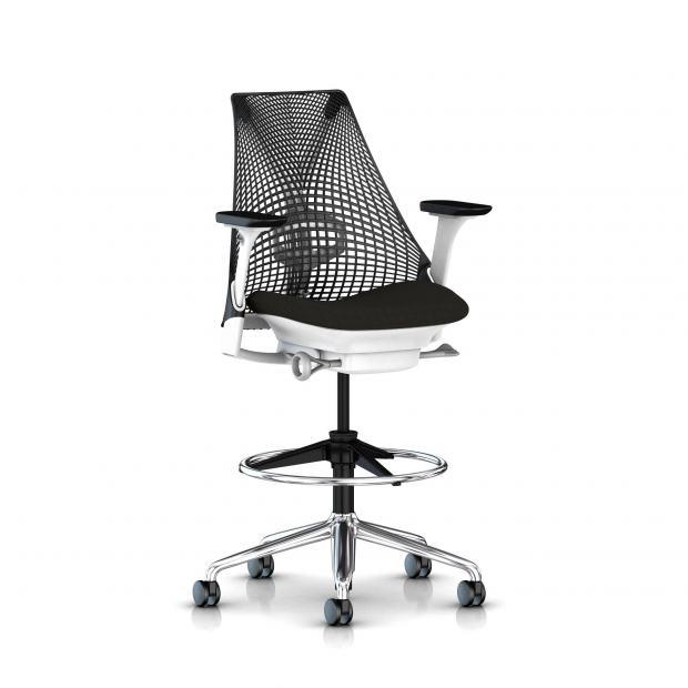 Sayl stool - Structure blanche et Piétement alu poli