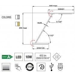 Lampe de bureau - Orbit Argent - Aluminor