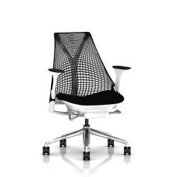 Fauteuil de bureau Sayl - Structure blanche - Piétement Aluminium poli - Herman Miller