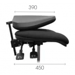 AT3XTP dossier pliant asynchrone vérin standard - Roulettes sols durs - Chaise d'atelier tissu