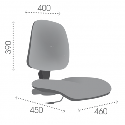 AT1 vérin moyen - Patins - Chaise d'atelier tissu