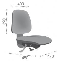 AT4C asynchrone vérin moyen - Patins - Chaise de caisse et d'atelier - Tissu