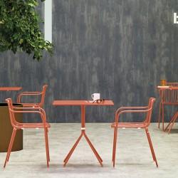 Nolita 3656 Chaise de terrasse en acier Pedrali accoudoirs et dossier haut