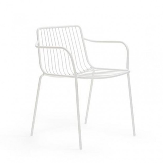 Nolita 3655 Pedrali chaise 4 pieds avec accoudoirs - Blanche