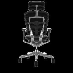 Ergohuman Luxury - Fauteuil de bureau avec têtière - Assise tissu noir et dossier filet noir