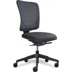 Why fauteuil de bureau dossier filet noir / assise tissu noir avec accoudoirs