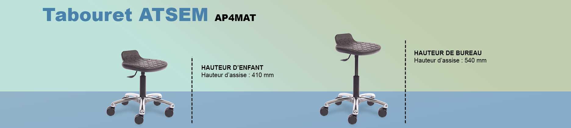 Tabouret AP4 MAT avec hauteur d'assise réglable pour le bureau et pour la petite enfance