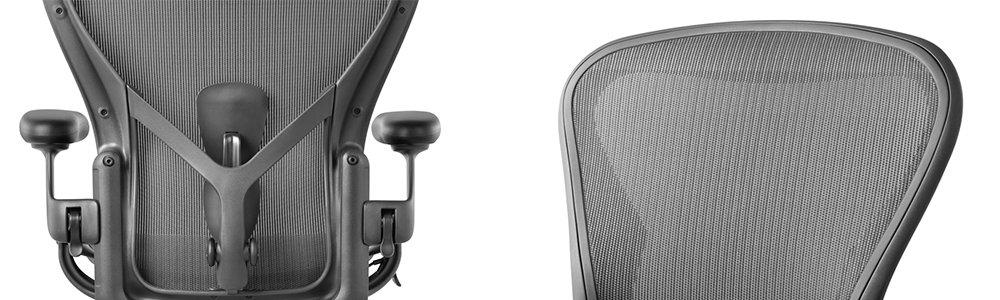 Vue du dossier du fauteuil aeron par herman miller